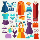 Women summer clothing in  flat style. Stock Photography