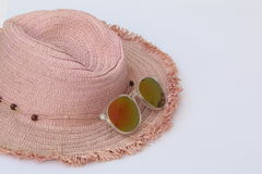 Women Summer Hat, Weaving, and Sunglasses. Women Summer Hat, Weaving designed and Sunglasses on the hat Stock Images