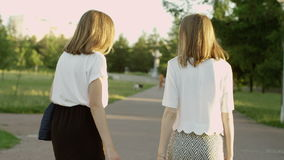 Women in the summer park stock footage