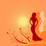Women and sun Stock Photography