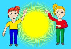 Women with sun. Two women presenting news in front of a sun royalty free illustration