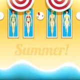 Women are sunbathing on the beach vector illustration Stock Photo