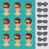 Women sunglasses shapes for different faces Royalty Free Stock Photo
