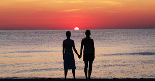 Women on sunset Stock Photography
