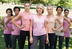 Women supporting breast cancer awareness. Portrait of confident women supporting breast cancer awareness at park Royalty Free Stock Photography