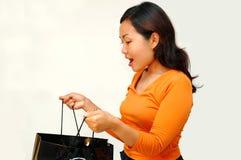 Women surprise face. Shopping series stock photo