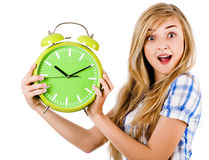 Women surprised with the ringing alarm Royalty Free Stock Photo