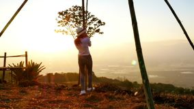 Women swing the rope. Women swing the rope in evening time stock video footage