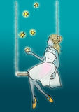 Women on swing from sky got the stars in hand illustration surreal image background Royalty Free Stock Photos