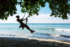 Women on swings. In Thailand Royalty Free Stock Image