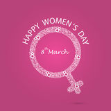 Women symbol and eight logo design. International women`s day ic. On.Women`s day symbol.Minimalistic design for international women`s day concept.Vector Stock Photography