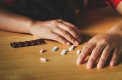 Women Take medicine overdose and Body Stock Photos