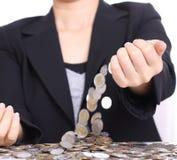 Women take money up Royalty Free Stock Image