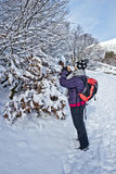 Women take picture of winter forest with her Smartphone Stock Image