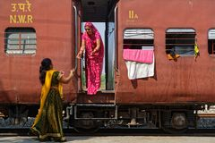 Women Take Tea In The Train Stock Photography