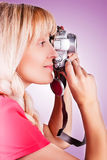 Women takes a picture stock photo