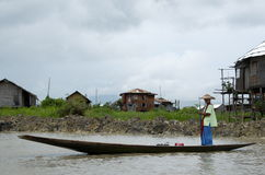 Women taking the boat to the market Royalty Free Stock Photo