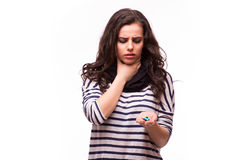 Women are taking medicines Stock Images