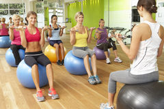 Women Taking Part In Gym Fitness Class Stock Photos