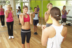 Women Taking Part In Gym Fitness Class Using Weights Royalty Free Stock Photography
