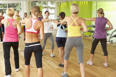 Women Taking Part In Gym Fitness Class Using Weights Stock Image