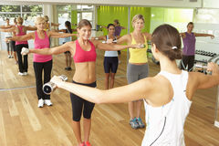 Women Taking Part In Gym Fitness Class Using Weights Royalty Free Stock Images