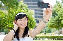 Women taking picture Stock Photos