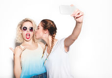 The women taking selfie stock photo