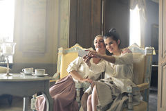 Women taking a selfie royalty free stock photos