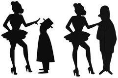 Women taking to men. Women showing their displeasure in conversing with men stock illustration