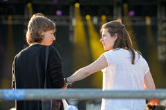 Women talk during a concert at Heineken Primavera Sound 2014 Royalty Free Stock Photos
