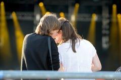 Women talk during a concert at Heineken Primavera Sound 2014 Festival Royalty Free Stock Photography