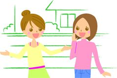 Women talking. This is an illustration of a woman talking Stock Images