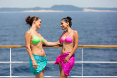 Women talking on cruise Stock Photography