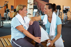 Women talking after fitness Stock Images