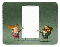 Women talking and gesturing at white board Stock Image
