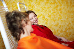 Women talking in a spa Stock Photography