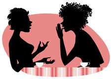 Women talking. Vector illustration of two girls friends chatting Vector Illustration