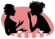 Women talking. Vector illustration of two girls friends chatting vector illustration