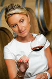 Women tasting wine in a cellar-Winemaker Stock Images