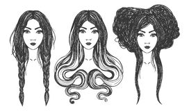 Women. Tattoo art, coloring books. Royalty Free Stock Photos