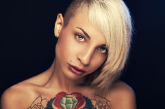 Women with a tattoo Stock Photo