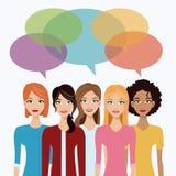Women team communication bubble speech Stock Photography
