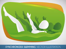 Women Team of Synchronized Swimming doing a Routine in Swimming Event, Vector Illustration Royalty Free Stock Photography