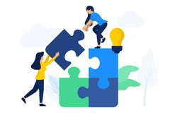 Women team up connecting puzzle elements stock illustration