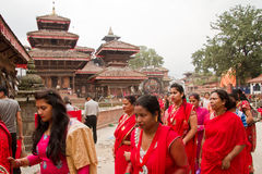 Women at Teej festival, Durbar Square, Kathmandu, Nepal. Nepalese women with blessings on the first day of 'Teej' festival in Durbar Square, Kathmandu, Nepal Stock Image