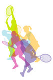 Women tennis silhouettes background Royalty Free Stock Photography