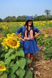 Women Thai Portrait on Sunflower Field at Saraburi Thailand Stock Images