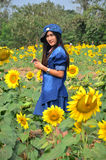 Women Thai Portrait on Sunflower Field at Saraburi Thailand Stock Images