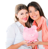 Women with their savings Royalty Free Stock Photo